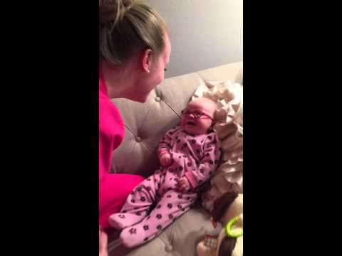 Baby seeing mom clearly for the first time with glasses will brighten your day!