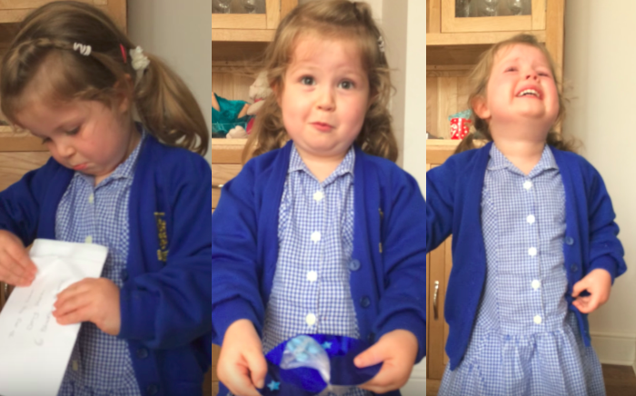 Little girl finds out she is getting a baby brother, and this is her reaction...