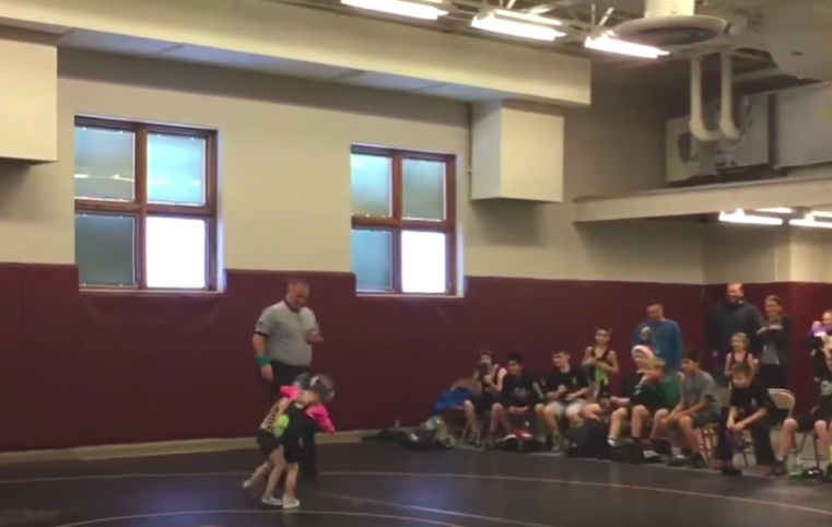 What did little brother do to his sister while she was wrestling will make you laugh out loud!