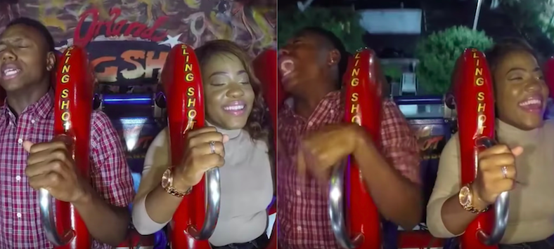 This is what will happen if a couple go on a slingshot ride with fear...