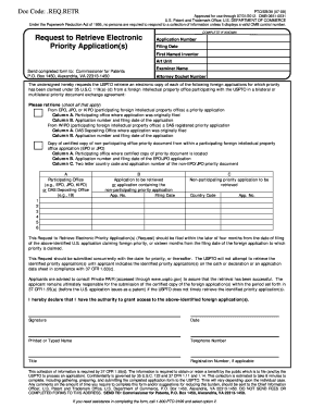 Request to Retrieve Electronic Priority Application(s) - uspto