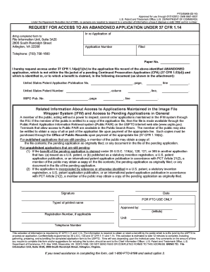 REQUEST FOR ACCESS TO AN ABANDONED APPLICATION ... - uspto
