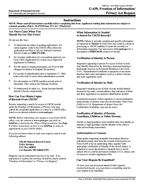 2005 Form USCIS G-639 Fill Online, Printable, Fillable, Blank ...
