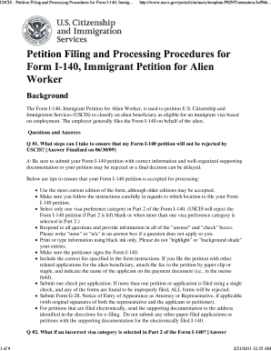Fillable Online USCIS - Petition Filing and Processing Procedures ...