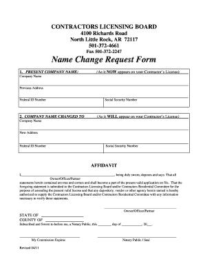 Fillable Online aclb arkansas Name Change Request Form - Arkansas ...