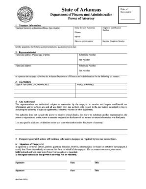 Arkansas Department Of Revenue Power Attorney Form on