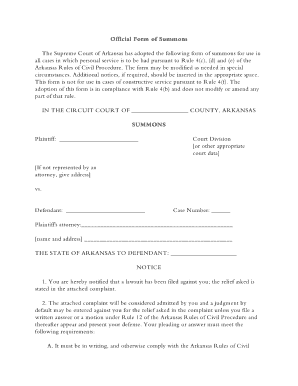 Civil Summons Form Arkansas Summons Form  Fill Online Printable Fillable Blank .