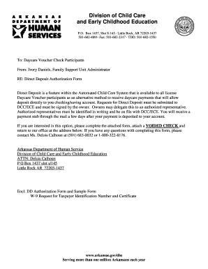 Child Care Direct Deposit Form Arkansas - Fill Online ...