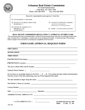arkansas name approval approval form