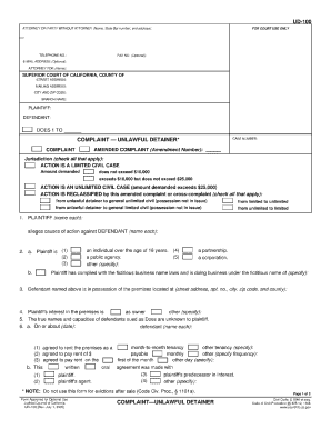 Unlawful Detainer Forms - Fill Online, Printable, Fillable, Blank ...