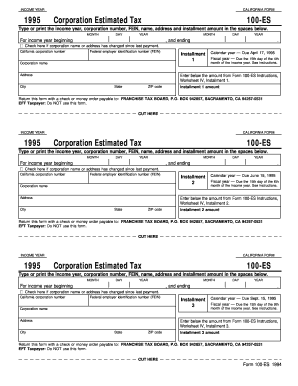 Fillable Online ftb ca 1994 Form 100-ES - California Franchise Tax ...