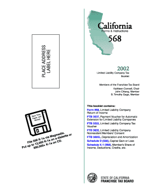 booklet for california tax form 568 2002