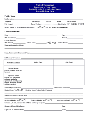 state of ct reportable event form