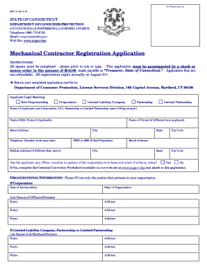 Mechanical Contractor Registration Application