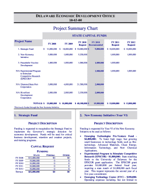 Project Summary Chart - Budget Development, Planning and ... - budget delaware