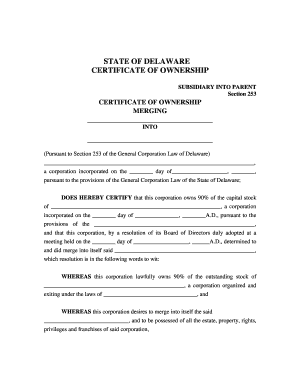 Delaware certificate of ownership and merger fill online printable fillable blank pdffiller for Llc certificate of ownership