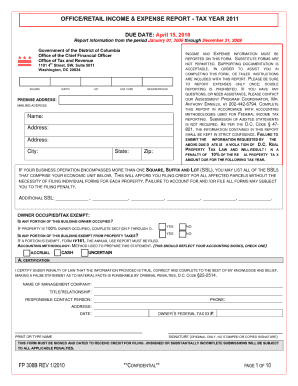income expense form dc