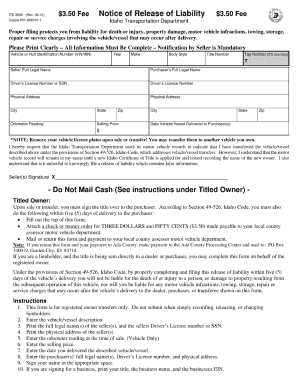 Release Of Liability Form Car Idaho