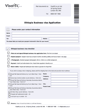 Fillable Online Ethiopia Visahq Co Visa Application For Ethiopia Form Fax Email Print Pdffiller
