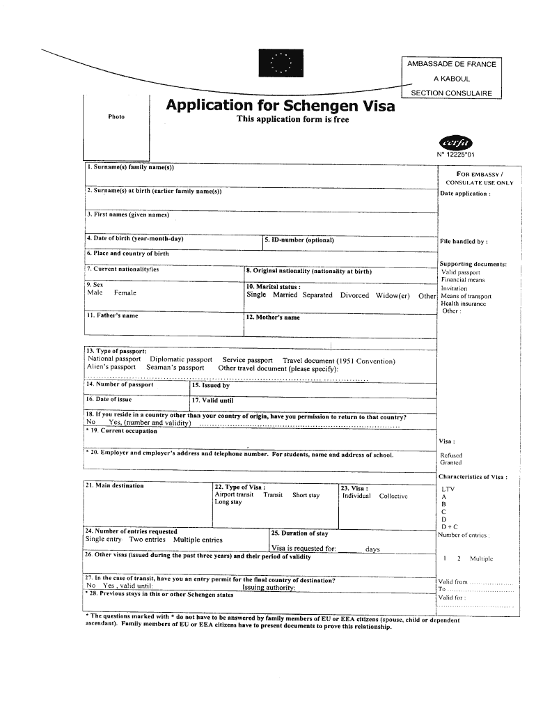 Schengen Visa Application Form 2020 Pdf Fill Online Printable Fillable Blank Pdffiller