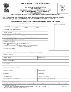 Indian Visa Application Form Pdf San Francisco - Fill Online ...