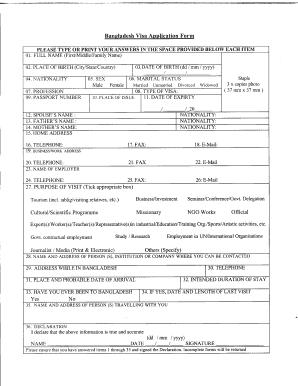 Bangladesh Visa Application Form Pdf Fill Online Printable Fillable Blank Pdffiller