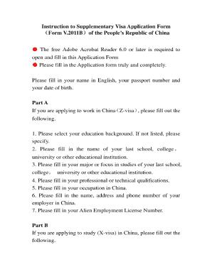 Fillable Online Fmprc Gov Instruction To Supplementary Visa Application Form Form V 2011b Fmprc Gov Fax Email Print Pdffiller