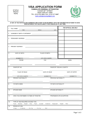 Pakistan Visa New York Embassy Pdf - Fill Online, Printable ...