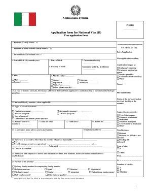 Italy Visa Form - Fill Online, Printable, Fillable, Blank | PDFfiller