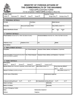 Bahamas Health Visa Application Fill Online Printable Fillable Blank Pdffiller