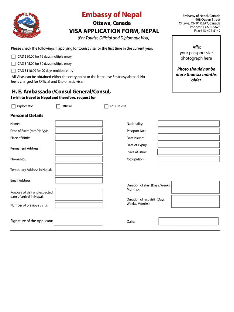 Embassy Of Nepal Visa Application Form Fill Online Printable Fillable Blank Pdffiller
