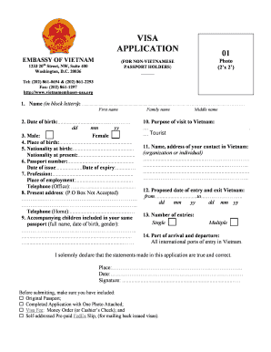 11672 Vietnam Emby Visa Application Form China To Print Out on