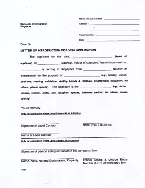 Letter of introduction for visa application fill online printable form v39a altavistaventures Choice Image