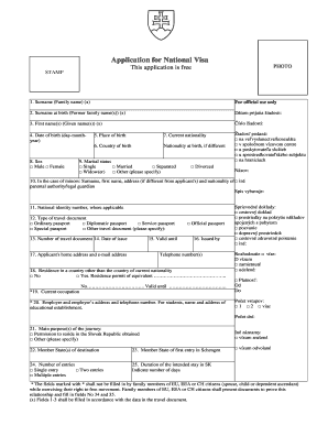 Slovakia Visa Application Form Fill Online Printable Fillable Blank Pdffiller