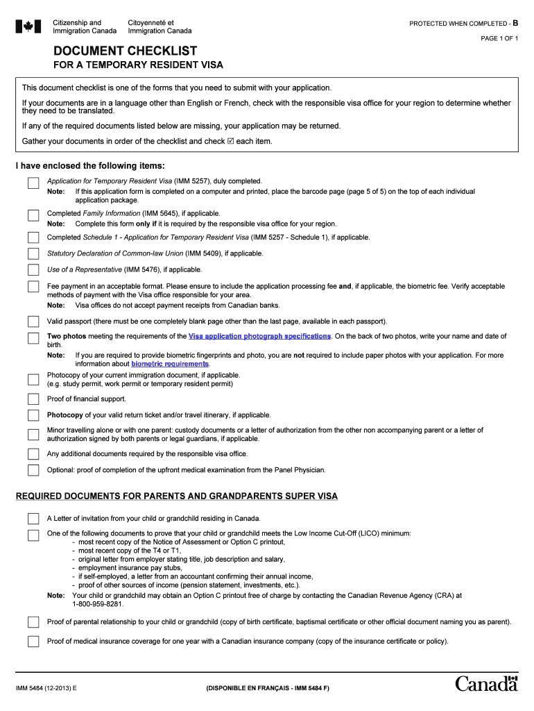 Document Checklist For A Temporary Resident Visa - Fill