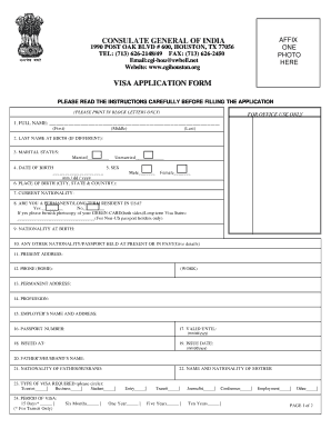 India Visa Application Form - Fill Online, Printable, Fillable ...