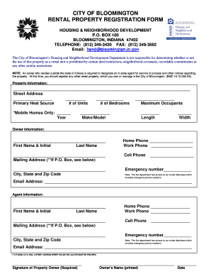 CITY OF BLOOMINGTON RENTAL PROPERTY REGISTRATION FORM - bloomington in