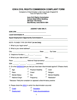 Iowa Civil Rights Commission Complaint Form - Fill Online ...