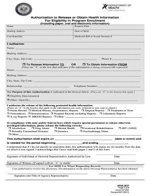 louisiana department of health and hospitals authorization form