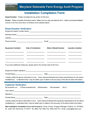 installation completion form fill online printable