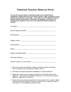 Talented Teacher Referral Form - msde maryland
