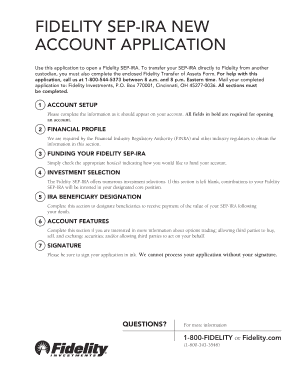 fidelity sep ira new account application form