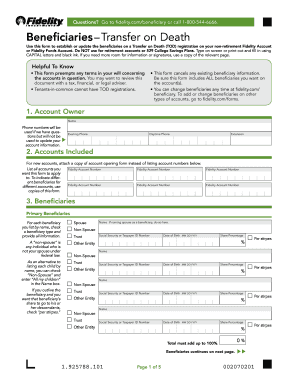 Fidelity Beneficiary Claim Form Fill Online Printable Fillable Blank Pdffiller