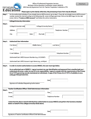 MEIS Security Agreement Form - State of Michigan - michigan