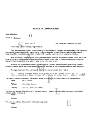 sample notice of commencement How To Fill Out Notice Of Commencement Michigan - Fill Online ...