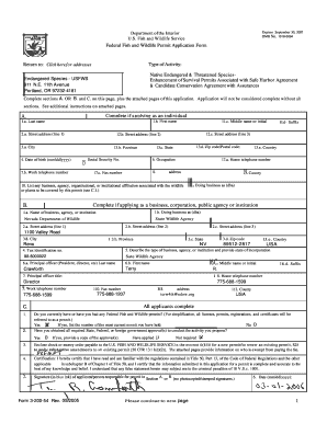 Fillable Online fws Federal Fish and Wildlife Permit Application ...