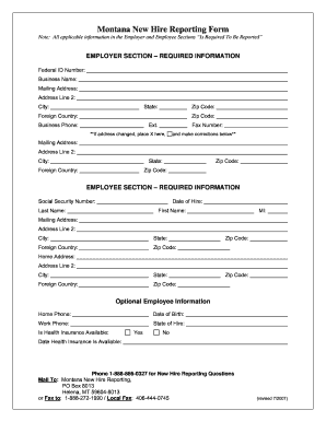 Montana New Hire Form - Fill Online, Printable, Fillable, Blank ...