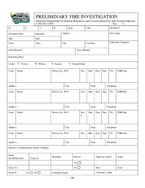 Fire Investigation Form