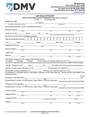 Nv Dmv Lien Sales Affidavit Fill Online Printable