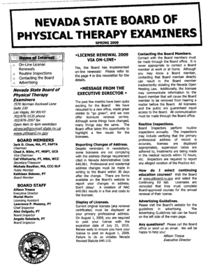 Fillable Online Ptboard Nv Spring 2009 Physical Therapy Examiners